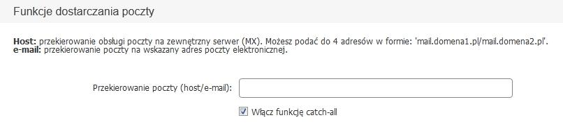 Panel Klienta home.pl - Konfiguruj - Funkcje dostarczania poczty - Wpisz adres e-mail
