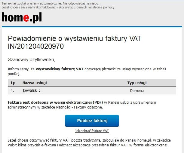 Wiadomość e-mail - Przykładowe powiadomienie o wystawieniu faktury VAT - Kliknij przycisk Pobierz fakturę