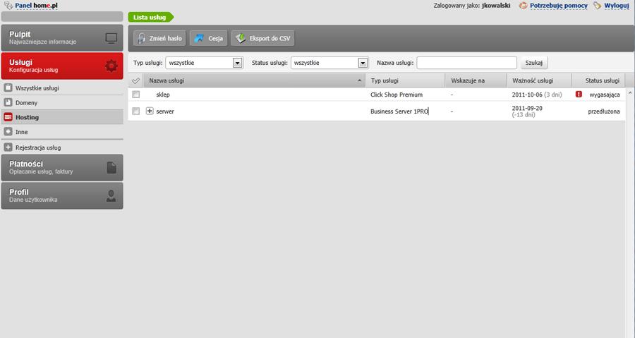Panel klienta - Usługi - Wybierz opcje menu Hosting