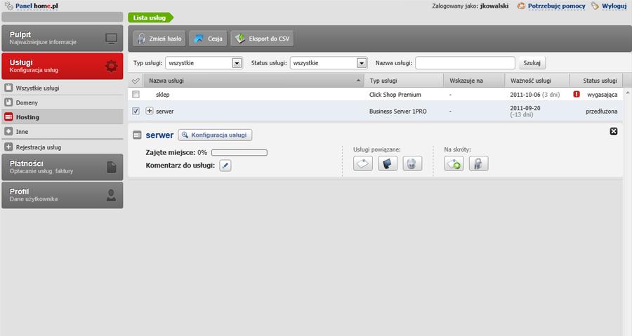 Panel klienta - Usługi - Hosting - Kliknij w nazwę wybranej usługi by rozwinąć Mini-Podgląd usługi