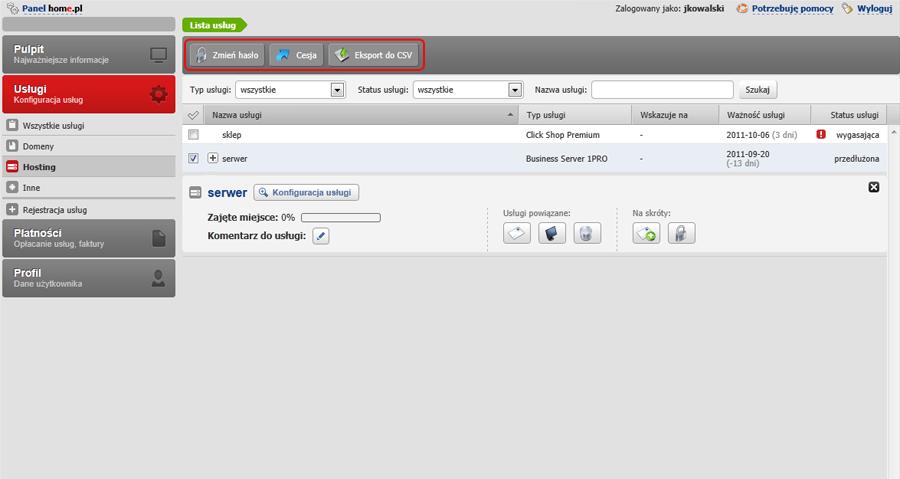 Panel klienta - Usługi - Hosting - Sprawdź funkcje na Pasku akcji