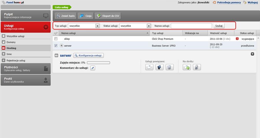 Panel klienta - Usługi - Hosting - Sprawdź jak Wyszukiwarka usług ułatwia pracę z większą ilością usług