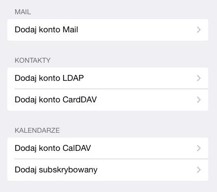 iOS (iPad) - Opcje - Poczta, kontakty, inne - Konta - Dodaj konto - Inne - W sekcji Kontakty wybierz opcje Dodaj konto CardDAV