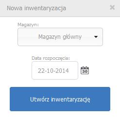 eKsięgowość - Magazyn - Inwentaryzacja - Nowa inwentaryzacja - Podaj dane i kliknij przycisk Utwórz inwentaryzację