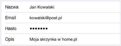 Program pocztowy - Poczta, kontakty, inne - Konta - Dodaj konto - Inne - Dodaj konto Mail - Podaj wymagane dane