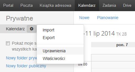 Poczta home.pl - Kalendarz - Ikona koła zębatego - Wybierz opcję Uprawnienia