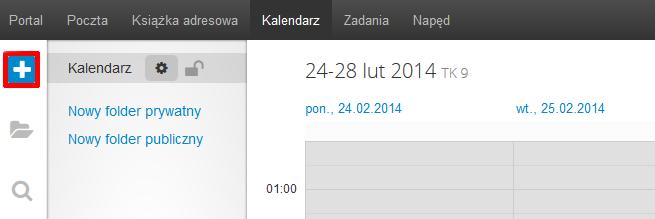 Poczta home.pl - Kalendarz - Kliknij przycisk Nowe