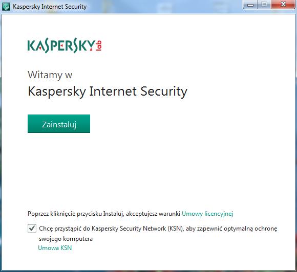 Kaspersky Internet Security - Kreator instalacji - Kliknij przycisk Zainstaluj