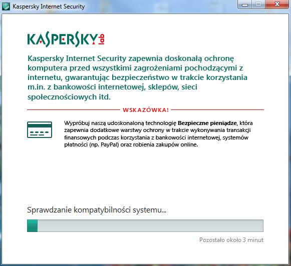 Kaspersky Internet Security - Kreator instalacji - Poczekaj chwilę, aż oprogramowanie Kaspersky sprawdzi kompatybilność Twojego systemu