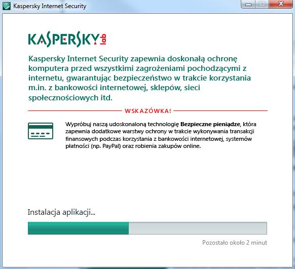 Kaspersky Internet Security - Kreator instalacji - Poczekaj chwilę, aż oprogramowanie Kaspersky się zainstaluje