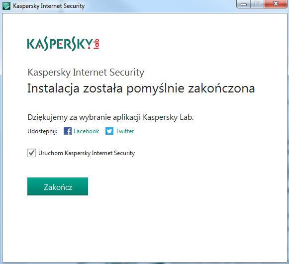 Kaspersky Internet Security - Kreator instalacji - Kliknij przycisk Zakończ