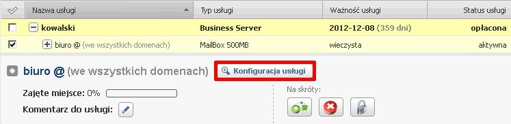 Panel Klienta - Usługi - Wybrana usługa - Kliknij przycisk Konfiguracja usługi