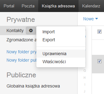 Poczta home.pl - Książka adresowa - Kontakty - Ikona koła zębatego - Wybierz opcję Uprawnienia