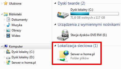 Mój komputer - Przykład nowej dostępnej lokalizacji sieciowej