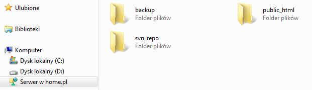 Mój komputer - Lokalizacja sieciowa - Przykładowy widok katalogów i plików po zalogowaniu się do lokalizacji sieciowej