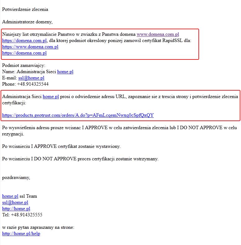 Wiadomość e-mail - Potwierdzenie zamówienia certyfikatu RapidSSL - Kliknij zaznaczony link, aby potwierdzić zamówienie na Twój certyfikat SSL