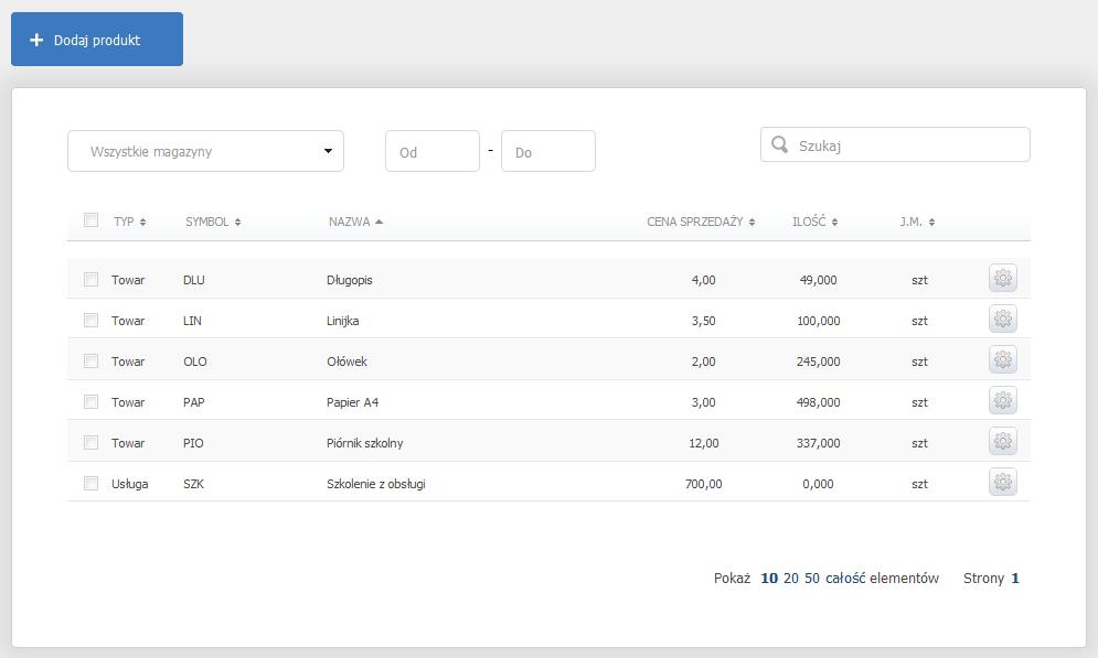 eKsięgowość - Magazyn - Produkty - Kliknij przycisk Dodaj produkt