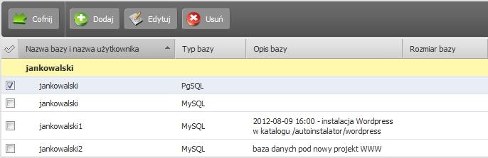 Panel klienta - Usługi - Nazwa serwera - Konfiguracja usługi - Narzędzia - Bazy danych - Zaznacz bazę danych, którą chcesz zmienić