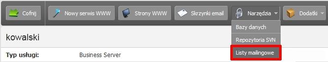 Panel klienta - Usługi - Nazwa serwera - Konfiguracja usługi - Narzędzia - Wybierz opcję Listy mailingowe