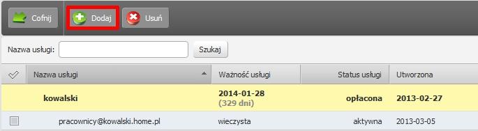 Panel Klienta - Usługi - Nazwa serwera - Konfiguracja usługi - Narzędzia - Listy mailingowe - Kliknij przycisk Dodaj