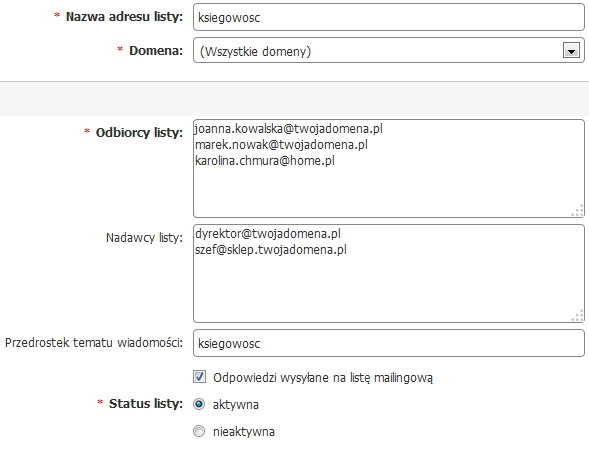 Panel klienta - Usługi - Nazwa serwera - Konfiguracja usługi - Narzędzia - Listy mailingowe - Dodaj - Uzupełnij formularz dodania nowej listy mailingowej