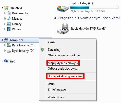 Naciśnij prawym przyciskiem myszy na Mój komputer - Menu kontekstowe - Wybierz opcje menu Dodaj lokalizację sieciową