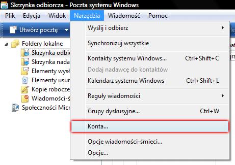 Windows Mail - Narzędzia - Wybierz opcje Konta