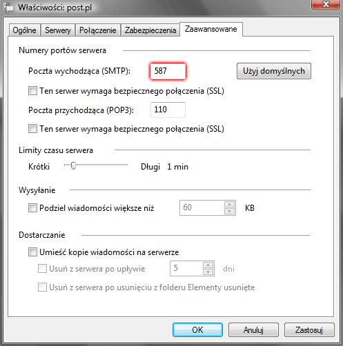 Windows Mail - Narzędzia - Konta - Konta internetowe - Właściwości - Zaawansowane - W polu Poczta wychodząca (SMTP) wpisz numer portu 587