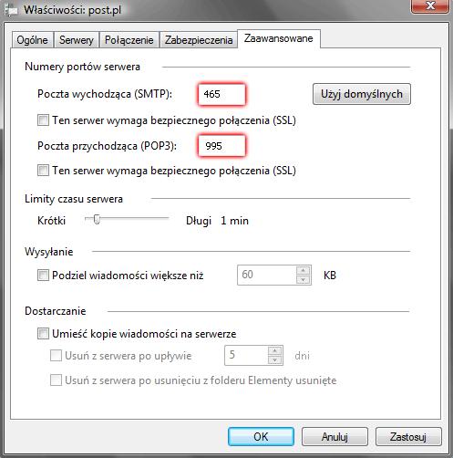 Windows Mail - Narzędzia - Konta - Konta internetowe - Właściwości - Zaawansowane - Włącz opcję szyfrowanego połączenia SSL