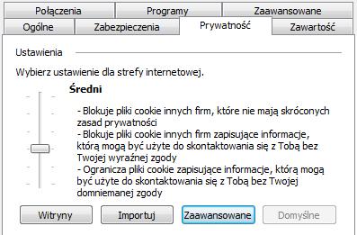 Internet Explorer - Ustawienia - Opcje internetowe - Prywatność - Ustawienia - Przesuń suwak do najwyższego położenia, aby zablokować wszystkie pliki cookie