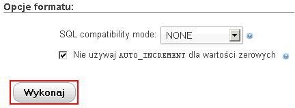 phpMyAdmin - Import - File to Import - Kliknij przycisk Wykonaj, aby zaimportować wybrany plik