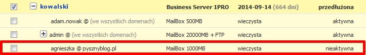 Panel Klienta - Usługi - Lista skrzynek e-mail - Przykładowa skrzynka e-mail ze statusem nieaktywna