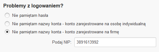 Odzyskiwanie hasła - Problemy z logowaniem - Zaznacz opcje Nie pamiętam nazwy konta – konto zarejestrowane na firmę