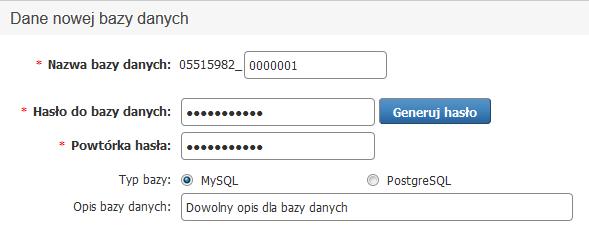 Panel klienta - Usługi - Nazwa serwera - Konfiguracja usługi - Narzędzia - Bazy danych - Dodaj - Uzupełnij dane nowej bazy danych