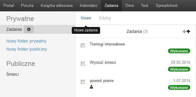 Poczta home.pl - Zadania - Kliknij przycisk Nowe
