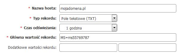 Panel Klienta home.pl - Uzupełnij formularz Dodaj nowy rekord