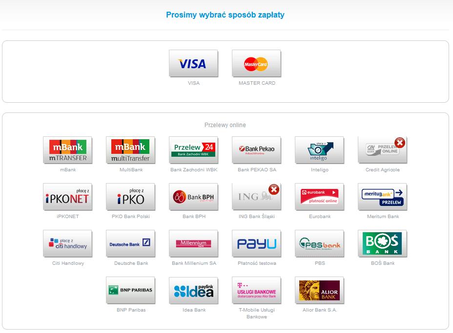 Panel Klienta - Konto - Dokumenty finansowe - Niezapłacone zamówienia - Opłać zamówienia - PayU - Wybierz odpowiedni sposób zapłaty