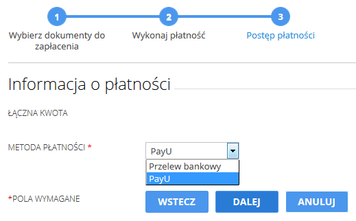 Panel Klienta - Konto - Dokumenty finansowe - Niezapłacone zamówienia - Opłać zamówienia - Wybierz metodę płatności o nazwie PayU
