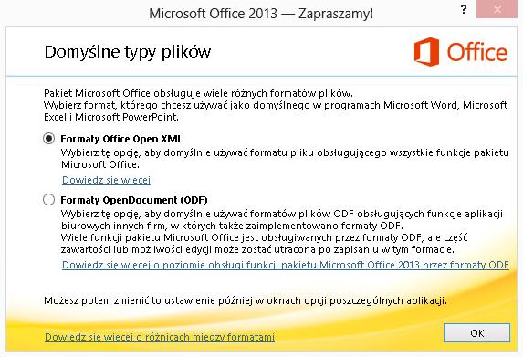 Microsoft Office 2013 - Domyślne typy plików - Zdefiniuj format plików na formaty Office Open XML
