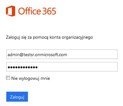 Panel Office 365 - Okno logowania - Zaloguj się za pomocą konta organizacyjnego
