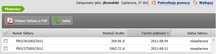 Panel klienta home.pl - Płatności - Przykładowy widok listy nieopłaconych PRO FORM