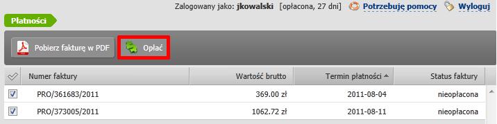 Panel klienta home.pl - Płatności - Lista nieopłaconych PRO FORM - Zaznacz PRO FORMĘ i kliknij przycisk Opłać