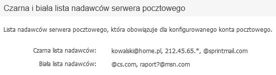 Panel Klienta - Usługi - Wybrana usługa - Konfiguracja usługi - Konfiguruj pocztę - Zabezpieczenia antyspamowe - Przykładowy widok włączonej czarnej i białej listy nadawców serwera pocztowego