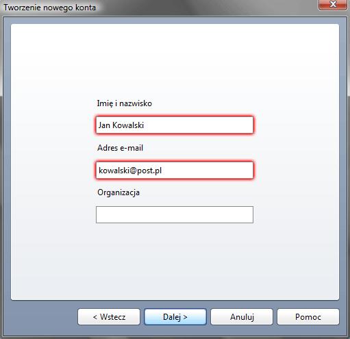 Opera Mail - Narzędzia - Konta poczty i czatu - Tworzenie nowego konta - Podaj niezbędne dane identyfikacyjne