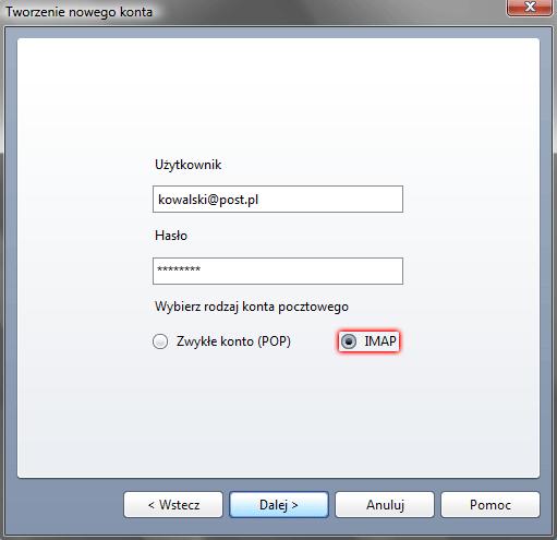 bdec1276f92f5d Opera Mail - Narzędzia - Konta poczty i czatu - Tworzenie nowego konta -  Wpisz dane