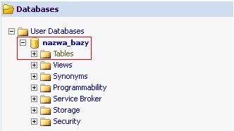 myLittleAdmin - Nazwa bazy danych - Kliknij w folder Tables