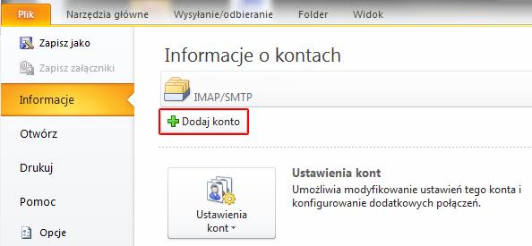 Microsoft Outlook 2010 - Plik - Informacje - Kliknij przycisk Dodaj konto