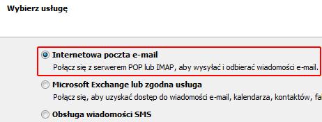 Microsoft Outlook 2010 - Plik - Informacje - Dodaj konto - Wybierz opcję Internetowa poczta e-mail (POP lub IMAP)