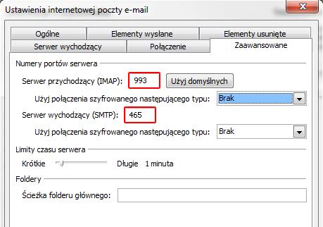 Microsoft Outlook 2010 - Plik - Informacje - Ustawienia kont - Poczta e-mail - Zmień - Więcej ustawień - Zaawansowane - Wybierz odpowiednią opcję w polach Użyj połączenia szyfrowanego następującego typu i zmień numery portów