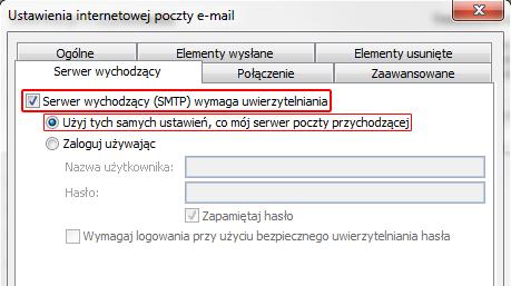 Microsoft Outlook 2010 - Plik - Informacje - Dodaj konto - Ustawienia internetowej poczty e-mail - Więcej ustawień - Włącz opcje Serwer wychodzący (SMTP) wymaga uwierzytelniania